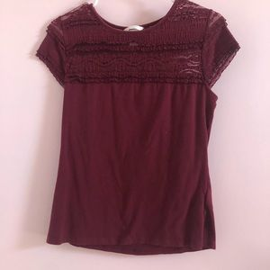 Maroon Shirt with Lace